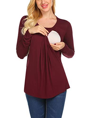 Unibelle Damen Umstandsshirt Stillshirt lustig Langarm Mit Stillfunktion Schwanger T-Shirt Weinrot M