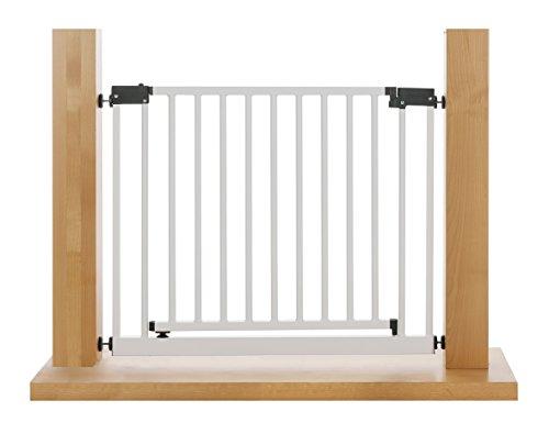Impag XXL Türschutzgitter Treppenschutzgitter 95 – 143 cm mit extrabreiter Komfort-Tür selbstschließend – zum Klemmen Weiß - 2