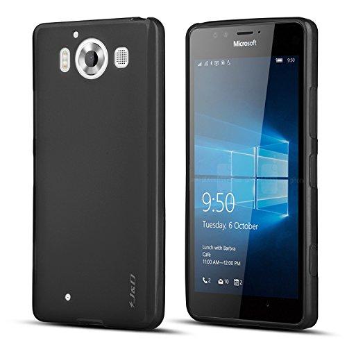 JundD Kompatibel für Lumia 950 Hülle, [Leichtgewichtig] [Fallschutz] Stoßfest TPU Slim Hülle für Lumia 950 - Schwarz