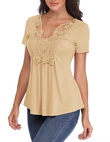 Miss Moly V-Ausschnitt Tops für Frauen Lady Bluse mit kurzen Ärmeln Geraffte Front Chest Spitze Licht Apricot Classy Sweatshirt - L -