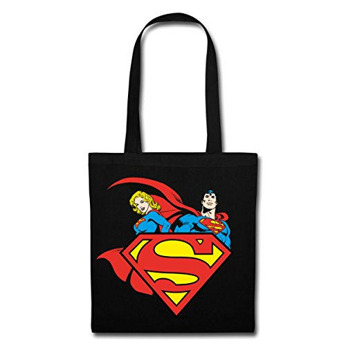 Spreadshirt DC Comics Originals Supergirl Und Superman Stoffbeutel Schwarz