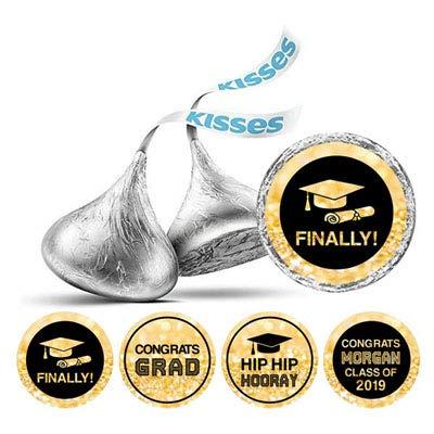 Darling Souvenir Hershey Kisses Abschluss-Party-Thema Sticker Packung mit 190 Stück-Schwarz-Gold-Glitter