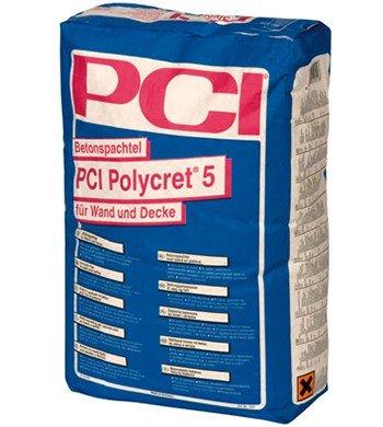 PCI POLYCRET 5 Betonspachtel 5 kg - Wasserfester Betonspachtel und Ausgleichsmörtel - für innen, außen, Wand und Decke
