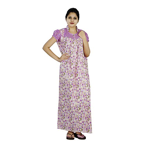 Purple and Beige colour Floral design High Collar neck cotton nighty for...