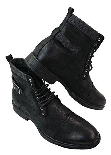 Stivaletti alla caviglia da uomo in finta pelle stile militare rock con lacci nero 6uk, 40eu
