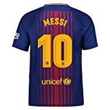 #3: Shamyaan Messi FCB Home Jersey Kit for Adults - Barcelona FCB Home #10 Messi Jersey - Half Sleeve New Latest Season 2017 - 2018 - Replica Design Soccer Jersey set FC Barcelona No. 10 Lionel Messi