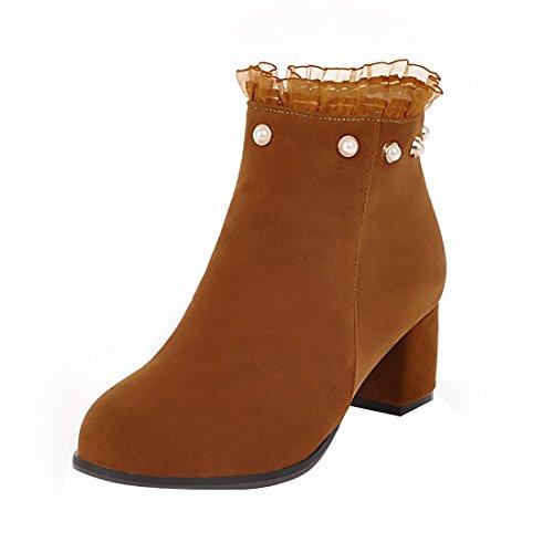 (UH Damen Chunky Ankle Boots High Heels Stiefeletten mit Blockabsatz und Spitze Perlen Süße Schuhe)