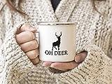 EMAILLE Becher Retro Tasse OH Deer Rentier Weihnachten Rehe Hirsch Winter Nikolaus Advent