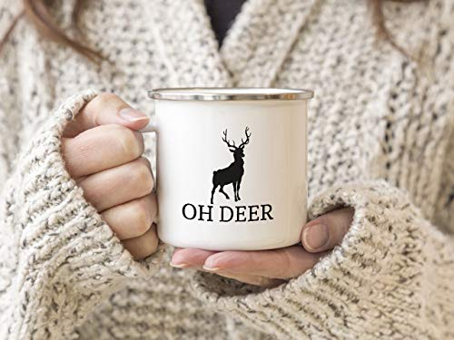 EMAILLE Becher Retro Tasse OH Deer Rentier Weihnachten Rehe Hirsch Winter Nikolaus Advent
