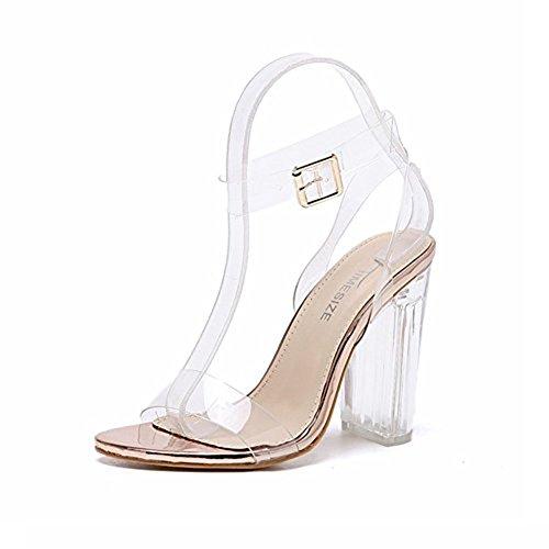 High Heels Sandaletten Transparente Knöchelriemchen Sandalen Absatz cm Offene Abendschuhe Kristall Damen Champagner 35