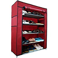 Virtue Shoe Rack Stand Foldable with Cover 5 Shelves for Home, Metal Frame Plastic Connectors Multipurpose Organiser (Maroon & Grey)