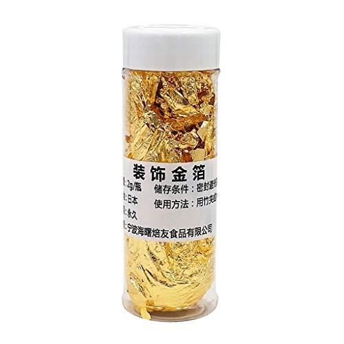 Essbare Folienfolie, 2 g, Goldfolie, zum Kochen von Getränken, Speisen, Dessert, Kuchen, Eisdekoration, Vergoldung