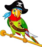 Stickersnews - Stickers muraux enfant Perroquet pirate hauteur 30cm réf 3614...