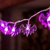 Lomire Lichterkette,Batterie Betrieben, 10 LED Lichterkette Fledermaus Beleuchtung Form Außenbeleuchtung für Halloween, Allerheiligen, Weihnachten, Hochzeit, Garten und Party (lila)