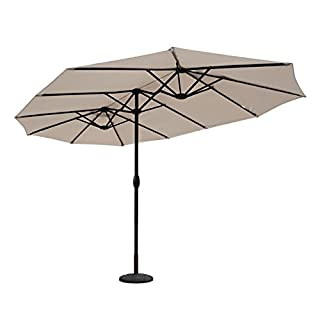 Sekey Parasol de Jardin Double en Aluminium, 270 x 460 cm, Protection Solaire UV50+, Taupe