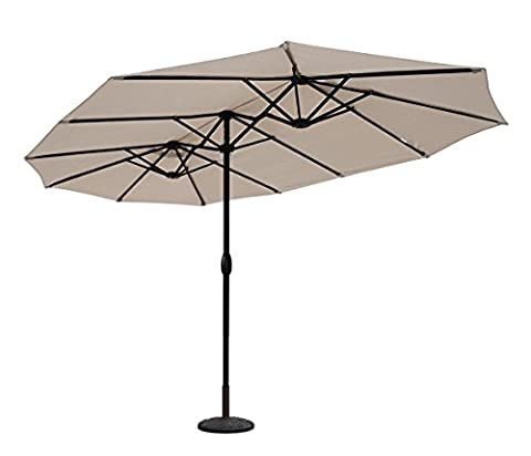 Sekey® 270 × 460 cm Aluminium Doppelsonnenschirm Marktschirm Gartenschirm Terrassenschirm Sonnenschutz UV50+