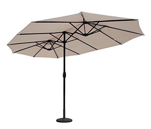 Sekey Parasol de Jardin Double en Aluminium 270 × 460 cm Protection Solaire UV50+ (Taupe)