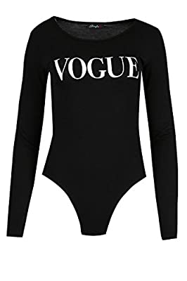 03f0137c52 Womens Ladies VOGUE Prints Long Sleeves Plain Round Neck ...