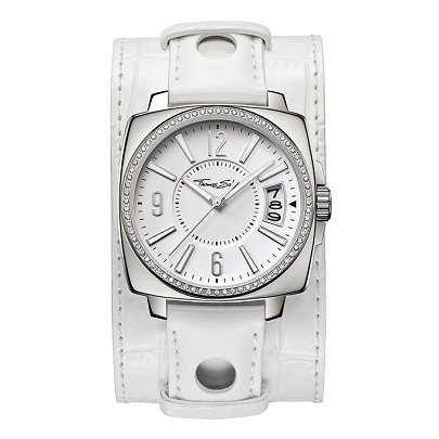 Thomas Sabo Ladies Steel CZ Bezel White Cuff Watch WA0087-215-202