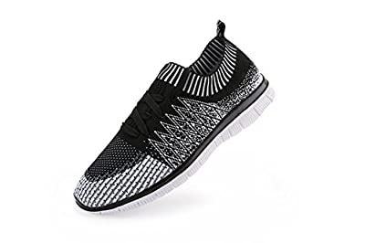 Vibdiv Men's Flyknit Running Shoes Lightweight Bleathable Lace-Up Trainers
