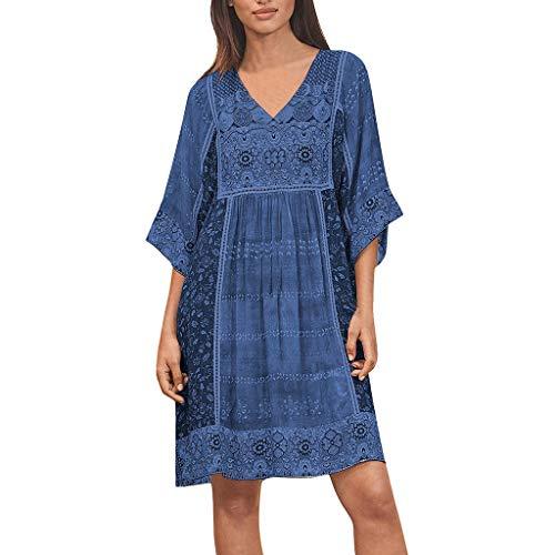 Y56 Robe Longue Femme Ete sans Manches Été Boheme Imprimée Robe De Plage Robe De Soleil Maxi Maternité Grossesse