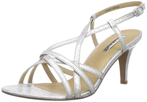 ESPRIT Dor Sandal, Damen Knöchelriemchen Sandalen, Silber (090 silver), 40 EU