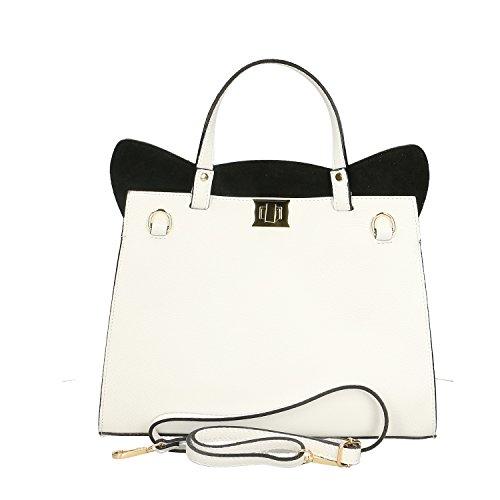 Chicca Borse Handbag Borsa a Mano in Vera Pelle Made in italy - 32x28x13 Cm Bianco - Nero