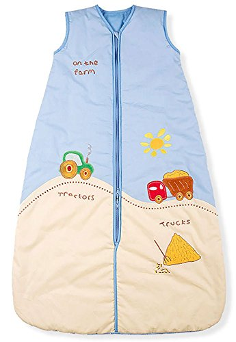 Baby Sleeping Bag, Farm Tractor, Kiddy Kaboosh Various Sizes, Summer Weight, 2.5 Tog, Size 1: 0-6 Months, Cosy & Safe, Perfect Presents, Machine washable
