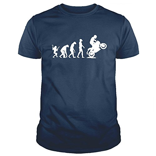 EV0002U Maglietta T-Shirt Uomo Evolution Motorcycle Moto Motocross Rider Humor Divertente Estate (S, Blu Navy)