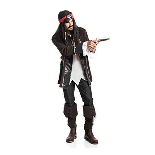 Erwachsene Pirat Braun Stiefelstulpen Kostüme (Kostümplanet® Piraten-Kostüm Herren Deluxe Kostüm Pirat Größe)