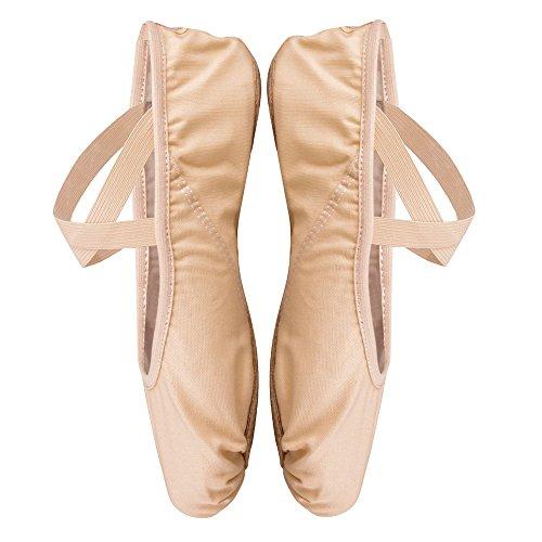 Sborter scarpe danza classica, scarpette da danza per bambini e adulto, scarpe da ballo tela morbido, cuoio suola diviso, piatto scarpette balletto, albicocca rosa, 40