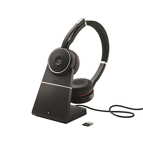 Jabra Evolve 75 MS Duo professionelles Bluetooth-Headset mit ANC für PC/Laptop/Tablet/Smartphone, Skype for Business zertifiziert, inkl. Ladestation Jabra Bluetooth-adapter