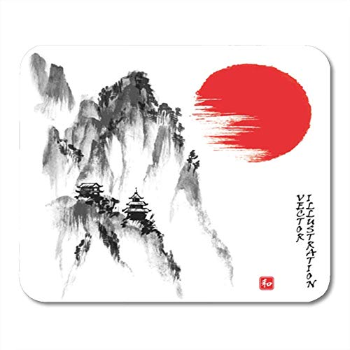 Gaming Mauspad Red Japan Landscape with Rocky Mountains and Sun in Traditional Japanese Sumi E 11.8