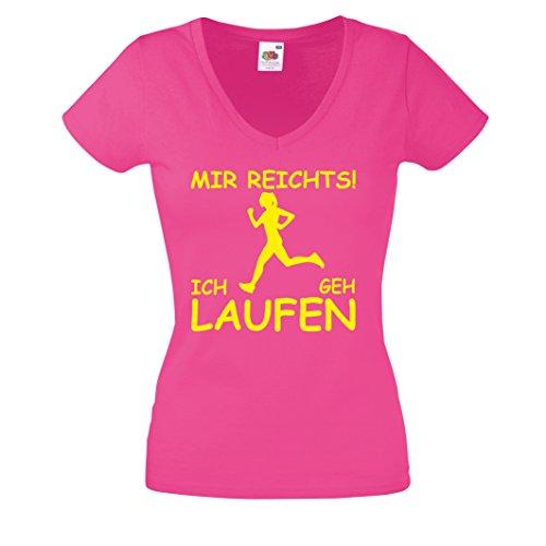 T-Shirt MIR REICHTS! ICH GEH LAUFEN Damen V-Neck Shirt. Joggen Joggerin Jogging Sprüche Pink-Neongelb