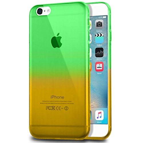 wortek Designer High Quality TPU Silikon - Case für iPhone 6 6S Schutz Hülle Farbverlauf Blau Gelb Grün Gelb