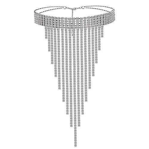 Czemo Quaste Strass Choker Halskette Kristall Statement Halskette Lange Quaste Statement-Kette Ketten Hals Halsband Schmuck für Damen (Größe M)