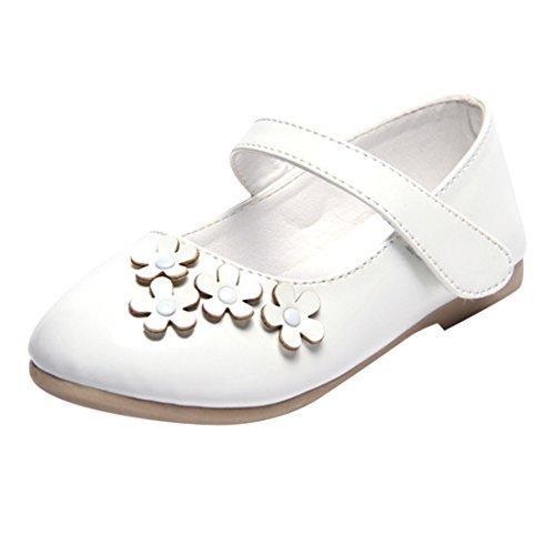 Lopetve Baby Kinder Mädchen Kunstleder Blumen Prinzessin Ballerinas Party Schuhe Festliche Schuhe Studenten Tanzschuhe Kostüm Schuhe Weiß 24