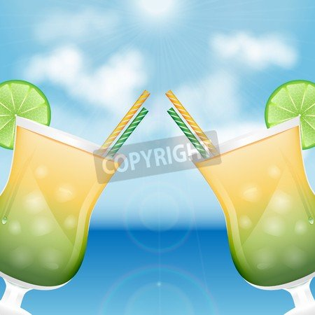 "Holz-Bild 90 x 90 cm: ""two glasses with cocktails on the background of sea and sky.summer background.vector"", Bild auf Holz"