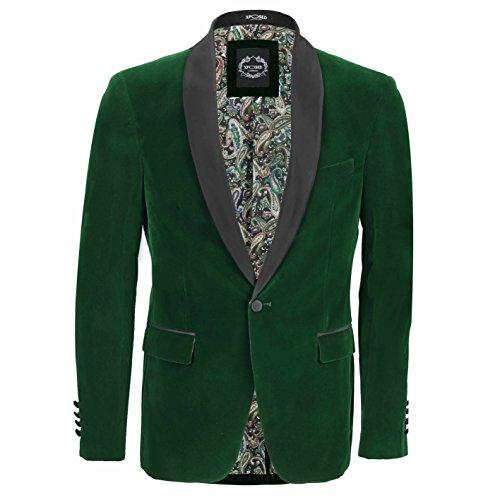 XPOSED SAMT-Smoking Anzug Jacke Schwarz Schal Revers Blazer Smart-Formal Abendessen-Mantel [ Brust UK 46 EU 56, Grün]