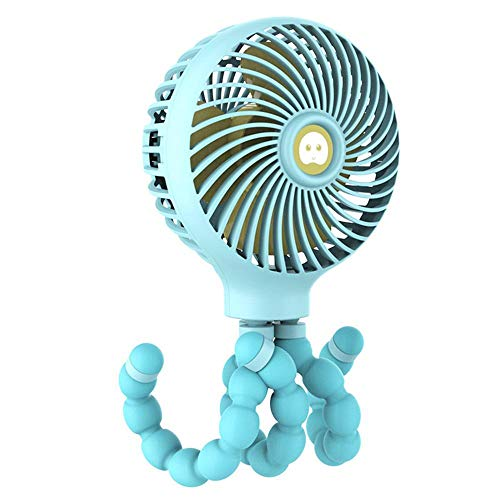 Stroller-Fan | Mini-Handheld Fan Bendable Tripod Octopus Fan | Can Fix auf Stroller/Bed/Bike | USB oder Batterie anlegen | 3 Speeds Settings | Toll für Zuhause, Büro, Dorm, Outdoor ()