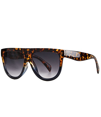 Caripe moderne Herren Damen Desinger Retro Vintage Sonnenbrille rechteckig flach (2637 - rotbraun -...
