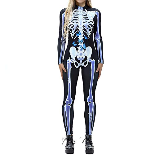 Frauen Halloween Print Catsuit Langarm Overall 3D Skeleton Body Zucker Schädel Jumpsuit Party Kostüm Strampler