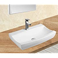 1x Lavabo en céramique évier ovale blanc petit de lavage Vasque à Poser en céramique Salle de Bain 48,5x32