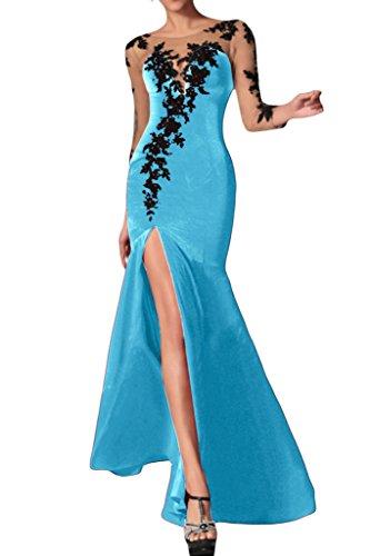 Sunvary Modisch 2015 Sexy Schlitz Chiffon Langarm Applikation Abendkleid Lang Partykleid Blau
