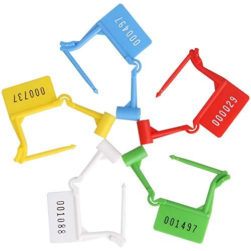 100PCS Einweg Kunststoff Vorhängeschloss Dichtung Seriennummer, 5Farben selbstsperrenden Typ Safety Control Dichtungen. Ideal für Gepäck, Dokument Tasche, Transport, Aktentasche Sperren -