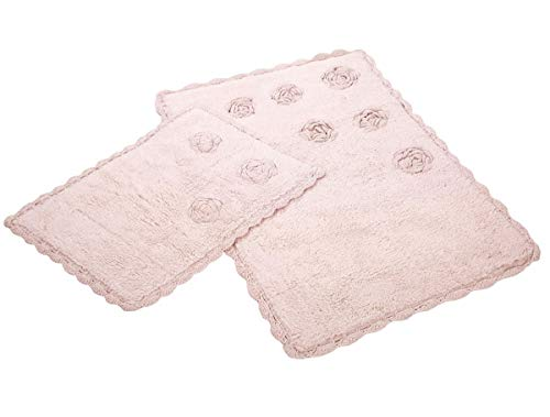 Optima Badteppich Badematten-Set-Garnitur Badvorleger Blossoms Rosa -