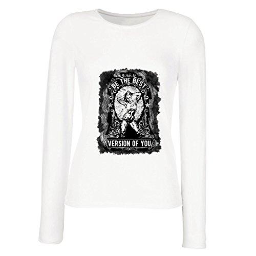 lepni.me Weibliche Langen Ärmeln T-Shirt Sei Die Beste Version von Dir Selbst! Fitness Ziele, Motivation Zitate, Training Sprüche (Large Weiß Mehrfarben) (Spaß Training Kleidung Frauen)