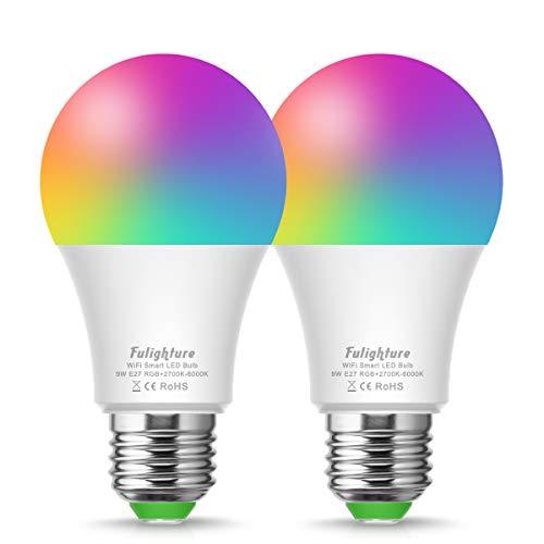 Fulighture Smart Led Lampe, WIFI Lampe E27,Wlan Mehrfarbige Dimmbare Lampe,2700-6500 Kelvin,810 Lumen,Kompatibel mit Amazon Alexa und Google Home,Fernsteuerung via App,2 Packs [Energieklasse A+]