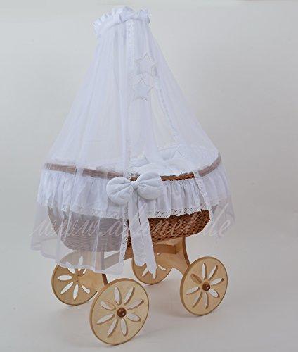 Ophelia Uno Spoke Antique White Berceau Landau Wicker Crib de ALANEL