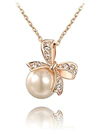 Bling N Beads Pearl Pendant Bow Rose Gold Necklace Gift For Her